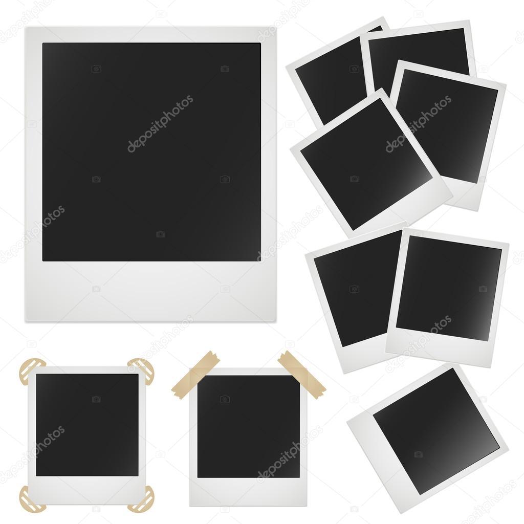 Polaroid photo frame on white background. Vector image