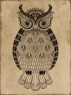 Ornamental hand-drawn owl on vintage background