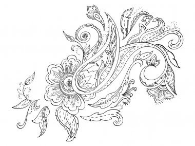 Hand-drawn floral paisley. Monochrome design