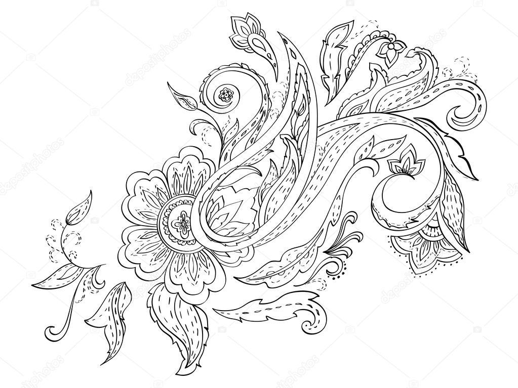 Hand Drawn Floral Paisley Monochrome Design Stock