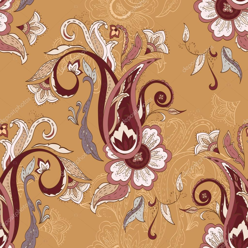 Colorful paisley pattern. Ethnic design. Seamless background, ve