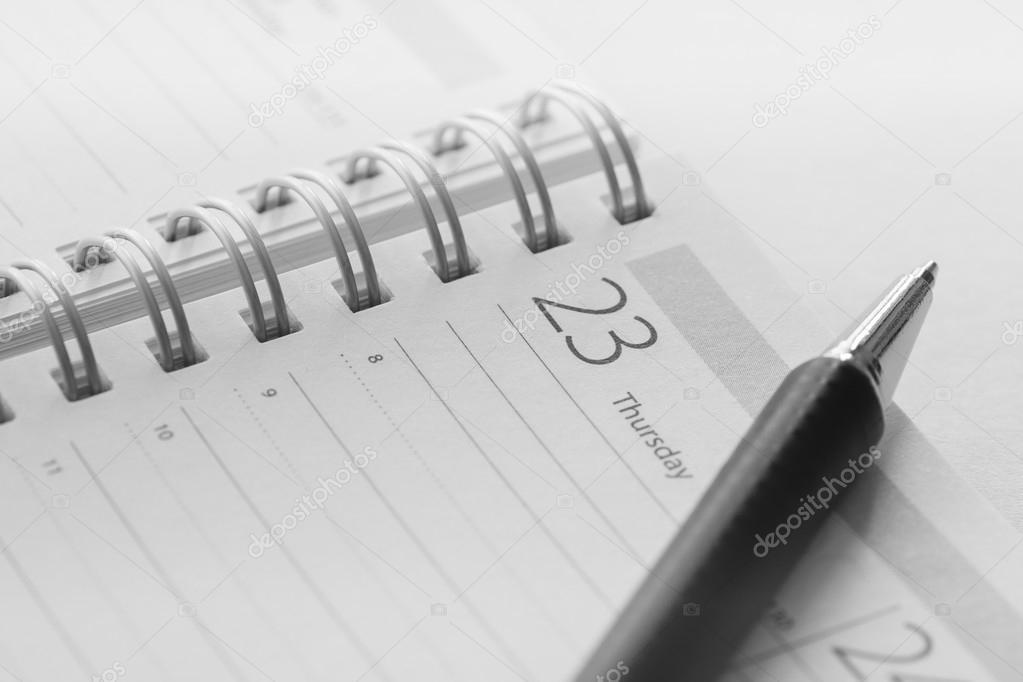 Calendar and pen closeup