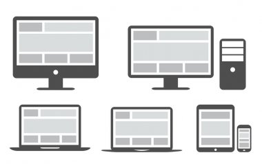 Responsive grid and web design in simplified icons vector