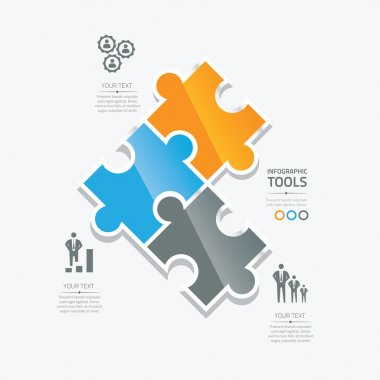 Business puzzle pieces infographic option tools vector