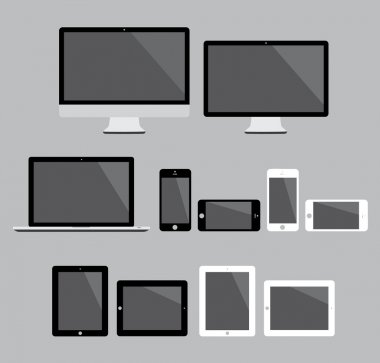 Big set of flat modern electronic devices vector illustration
