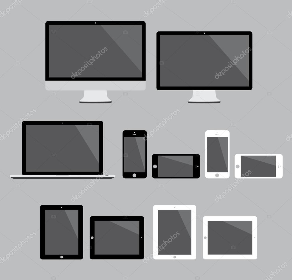 Big set of flat modern electronic devices vector illustration