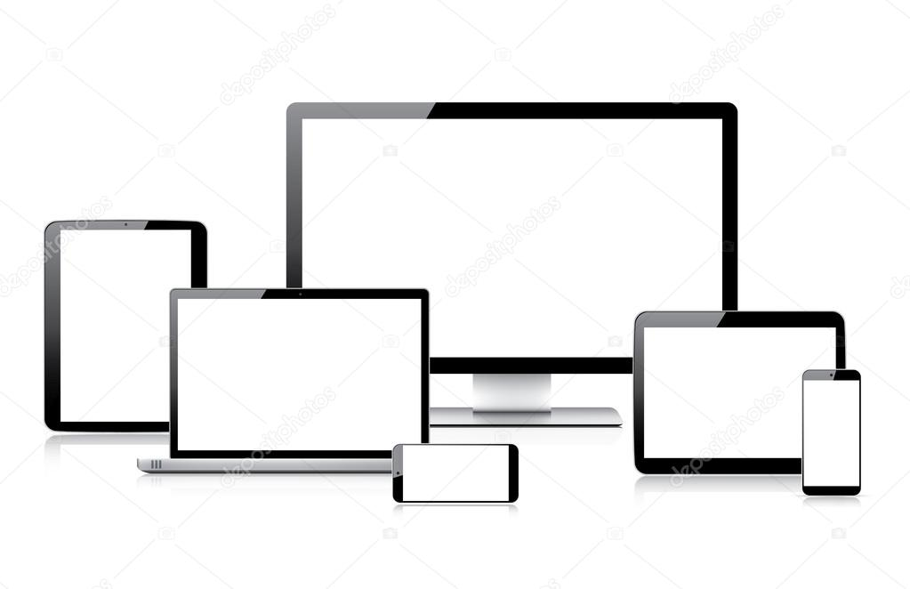 Very realistic modern electronic devices vectors isolated on white