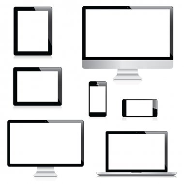 Modern computer, laptop, tablet and smartphone vectors stock vector