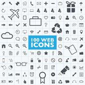 Sada 100 šedá web, internet, kancelář, počítač, cestování vektory ikony s mřížkou