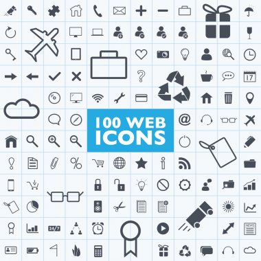 Set of 100 grey web, internet, office, computer, travel icon vectors with grid stock vector