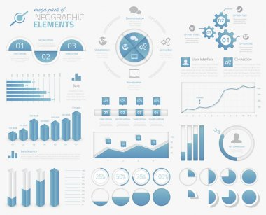 Mega pack of infographic graphs, charts, pies, options, elements vector