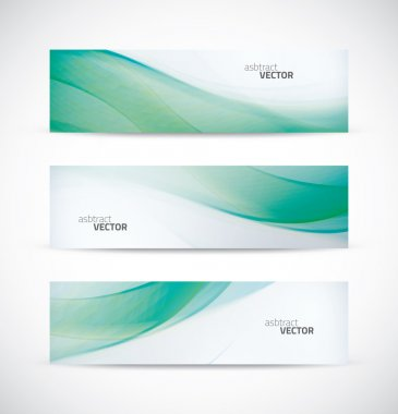 Three abstract green ecology wave banner header backgrounds vector