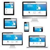 Ansprechende moderne Web-Design-Computer, Laptop, Tablet und Smartphone-Vektoren