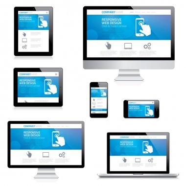 Modern responsive web design computer, laptop, tablet and smartphone vectors