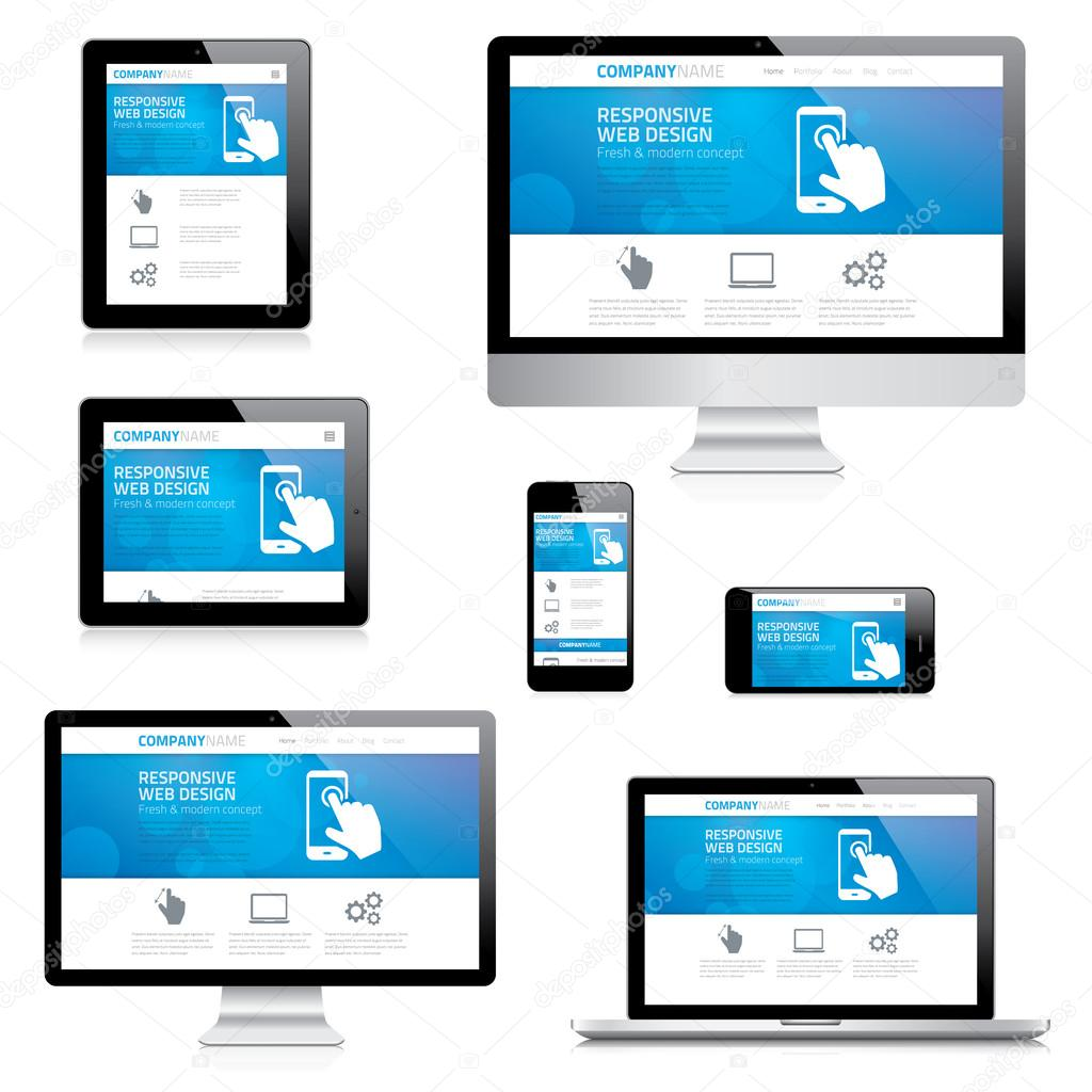 Modern responsive web design computer, laptop, tablet and smartphone vectors
