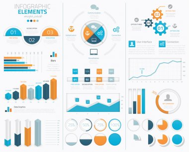 Big modern business infographic vector elements collection to display stock vector