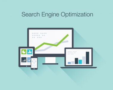 Search Engine Optimization flat icon illustration vector concept shows SEO data analysis in tablet, laptop, smartphone and computer icons