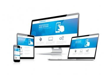 Website coding development with responsive web design concept eps10 stock vector