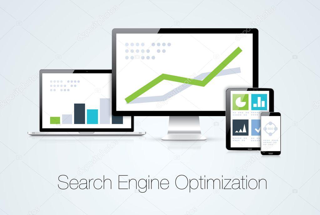 Search engine optimization marketing analysis vector illustration