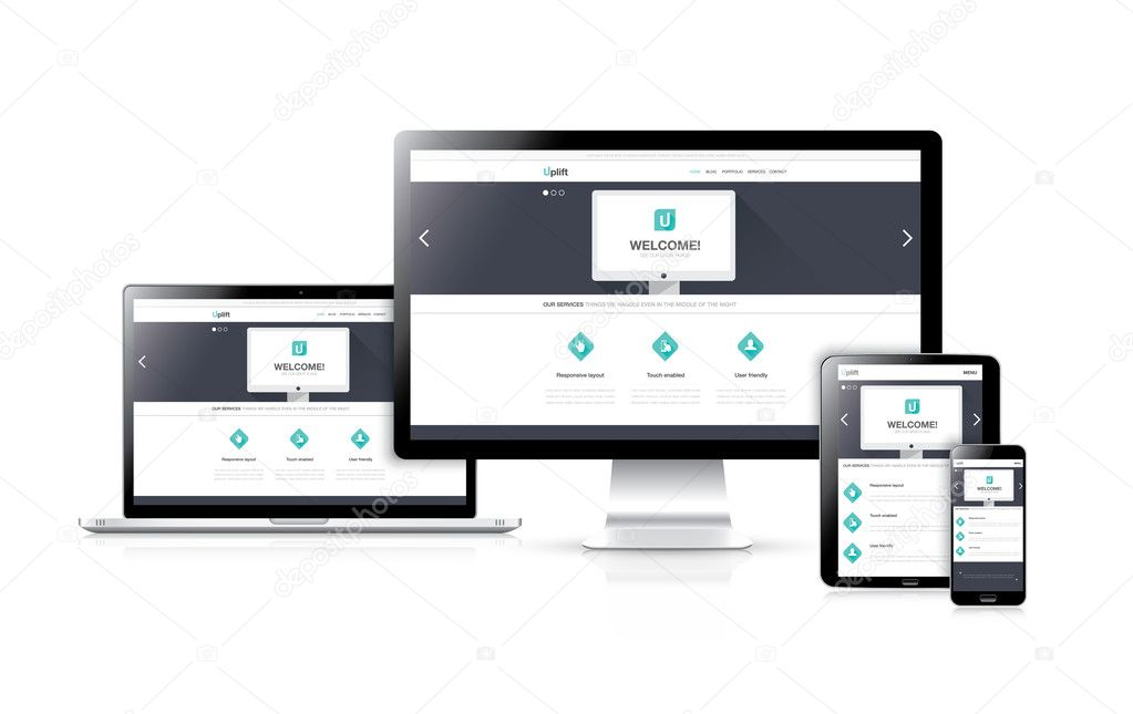 Flat responsive web design development vector concept in realistic devices