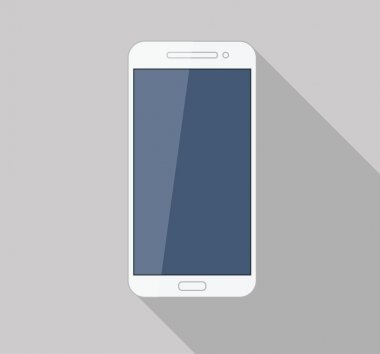 Flat white mobile phone modern stylish long shadow stock vector