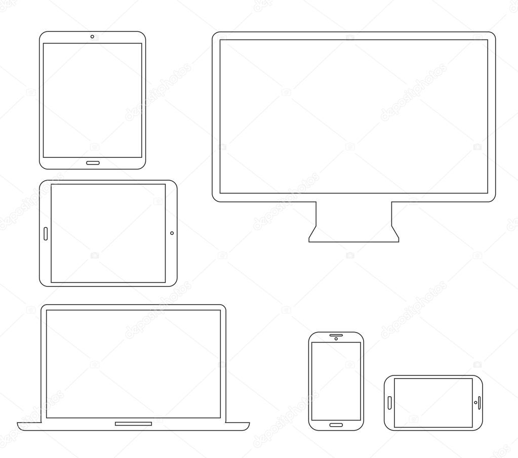 Set of outline electronic devices. Laptop, tablet, smartphone and computer vector illustrations.