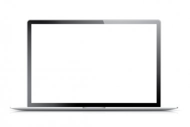 Isolated modern laptop with empty screen. Vector eps10 illustration.