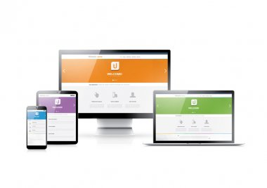 Responsive web design in modern highly detailed electronic devices. Flat website styles in four colors. clip art vector