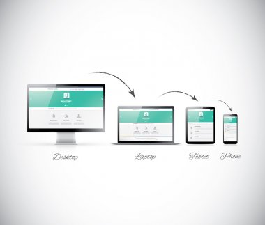 Responsive web design development in modern electronic devices stock vector