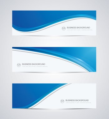 Abstract vector business background banner beautiful blue wave