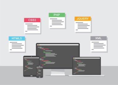 Flat web development design vector coding concept