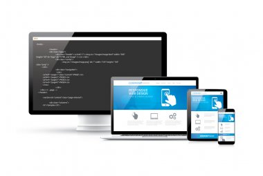 Coding websites to modern responsive electronic devices vector concept