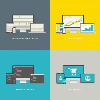 Website design concepts in modern awesome flat styles