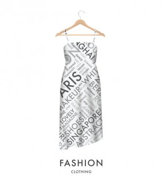 Woman fashion dress with fashionable text typography vector. Easy to edit.