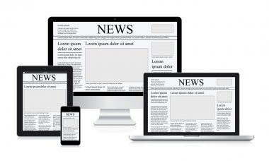 Online news vector illustration concept computer tablet newspaper