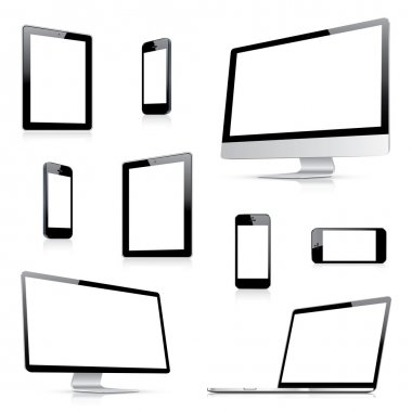 Modern computer, laptop, tablet and smartphone vectors from side view