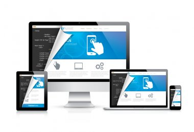 Internet web coding development with modern flat cool design. Vector illustration EPS10.