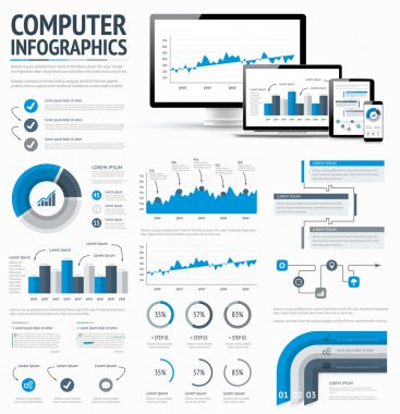 Information technology statistics infographic elements template vector EPS10 illustration.