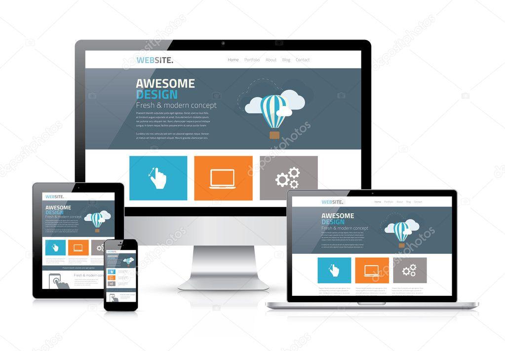Modern flat web design in responsive website vector