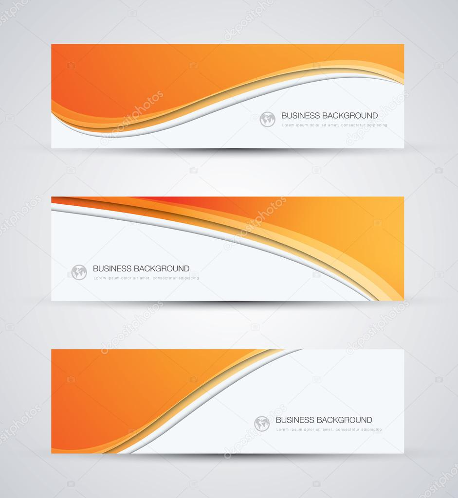Abstract vector business background banner beautiful orange wave