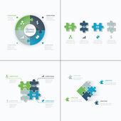 sada puzzle kousky skládačky business infografiky koncept vektoru