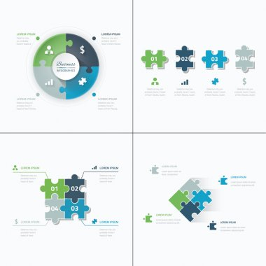 Set of puzzle pieces jigsaw business infographics concept vector