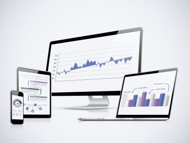 IT computer statistics vector with laptop, tablet and smartphone