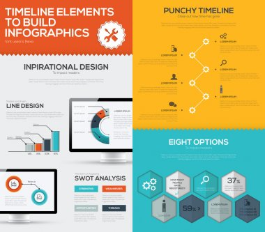 Timeline infographic vector set and business computer flat color