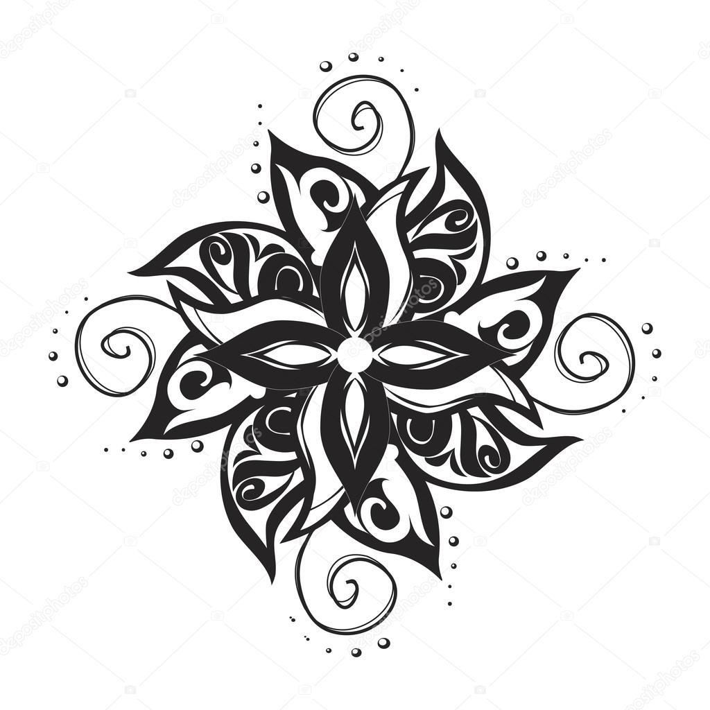 Tatuaż Czarno Biały Wzór Grafika Wektorowa Olgalebedeva