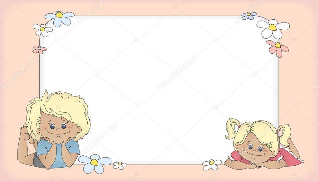 fondo con los niños, plantilla para tarjeta — Archivo Imágenes ...