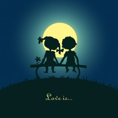 Silhouettes of a boy and a girl sitting in the moonlight on a bench. Template desigh for card clip art vector