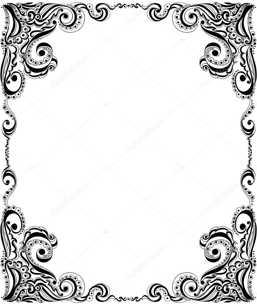 diseño de plantilla del marco para la tarjeta. patrón floral ...