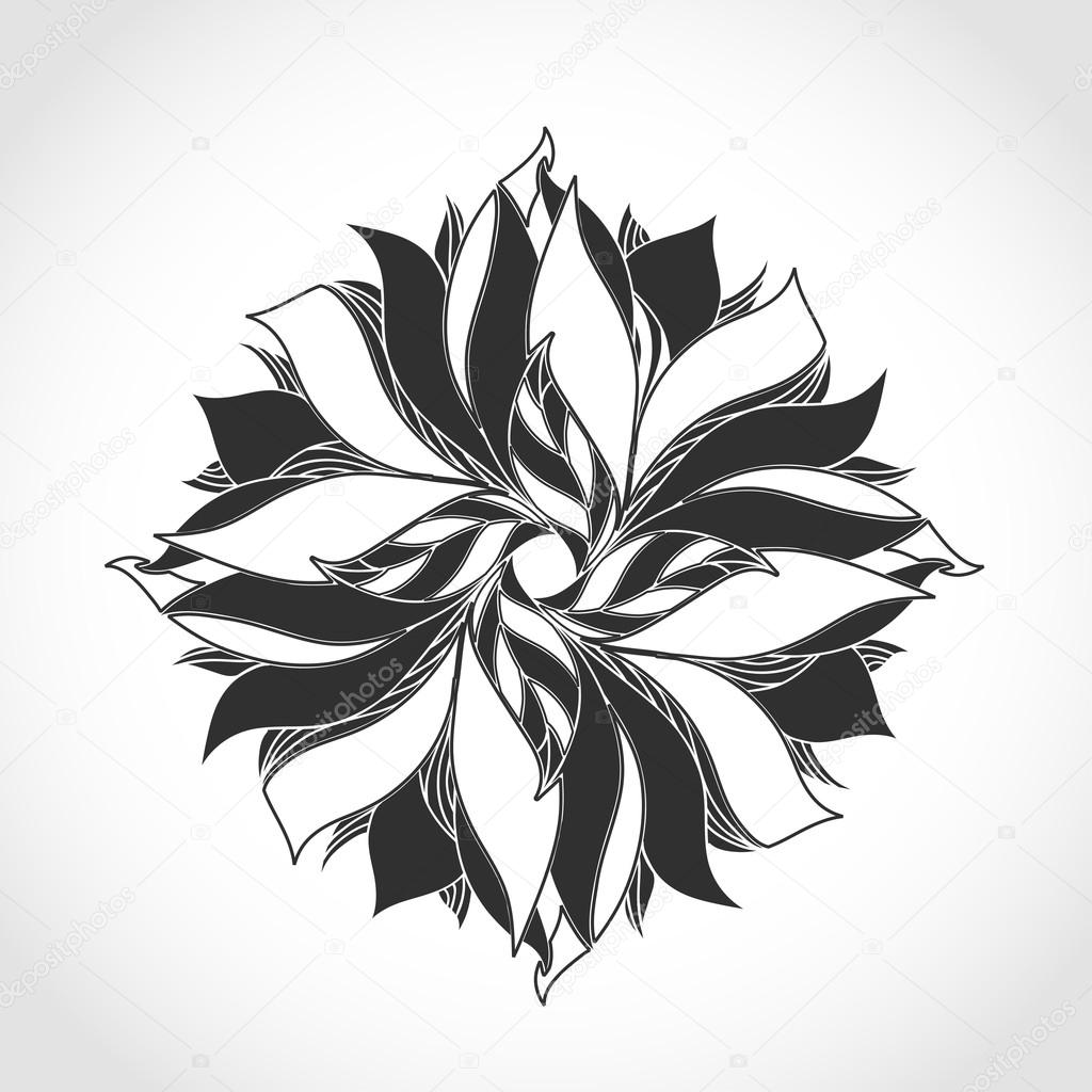 Fantasy flower, black and white tattoo pattern