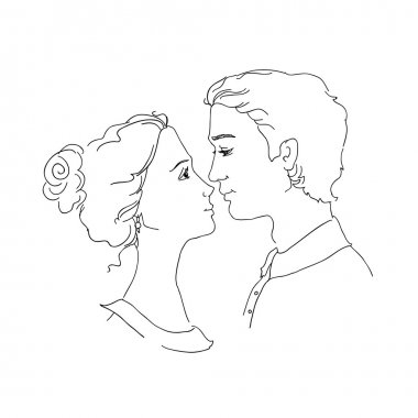 Sketch of loving couple. Man and woman are looking at each other and going to kiss stock vector